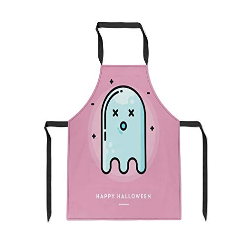 Pinbeam Apron Face Cute Ghost Flat Thin Line Halloween Dead with Adjustable Neck for Cooking Baking Garden