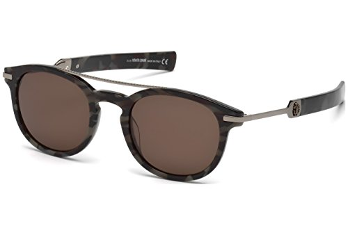 Roberto Cavalli - RC 1021,Rondes métal homme BLACK STRIPED/BROWN