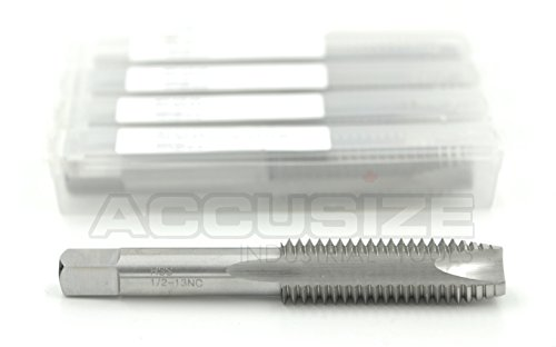 AccusizeTools - 5 Pcs SPT-1/2-13NC HSS Spiral Point Taps, ANSI Standard Ground, 3 Flute, H3, SPT-1/2-13x5 ()