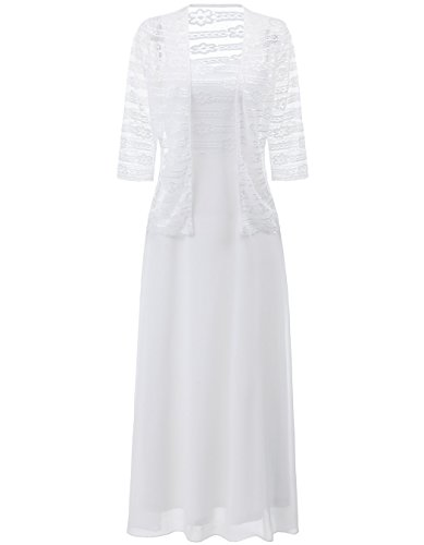 ALAGIRLS Lace with Jacket Mother of The Bride Dress Two Piece Long Wedding Evening Gown ALA800010WhiteM