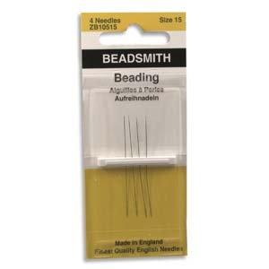 Hand Beading - Beading Needles, Size 15, Package of 4 Needles.