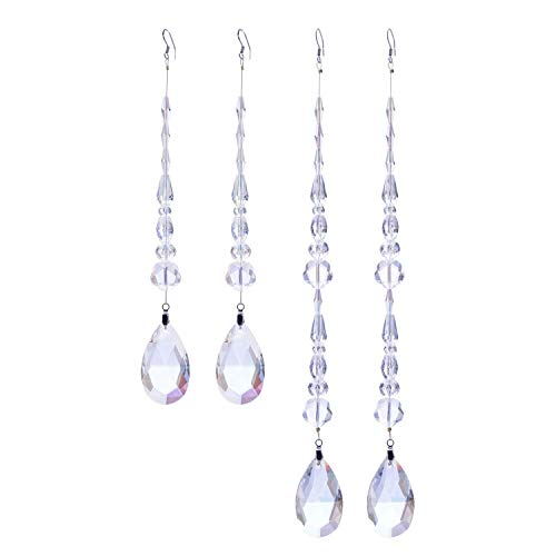 Chandelier Crystal Ornaments Drop Prisms Pendants Crystal Beads Garland Strands Suncatcher for Home, Office, Christmas/Wedding Decoration - 4Pcs (Bright White)