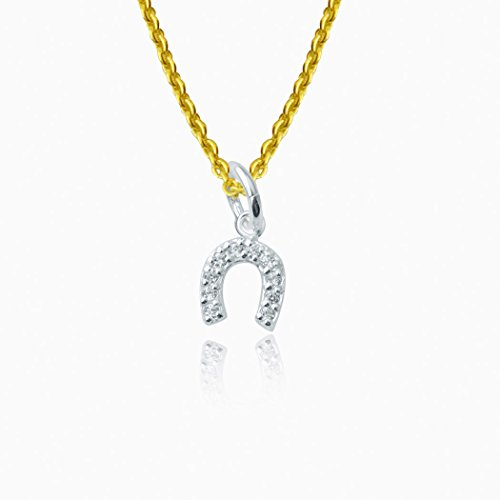 Vermeil Horseshoe (Gone For a Run Livia Collection Sterling Silver and Cubic Zirconia Horseshoe Necklace)