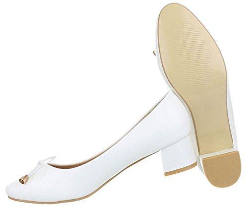 Damen Pumps Schuhe Klassischer Bequemer Schwarz Beige Weiß 36 37 38 39 40 41 Weiß
