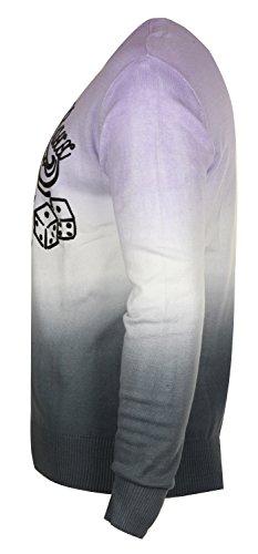 Cipo & Baxx Herren Pullover Lila/Weiß/Grau C-6262-PU
