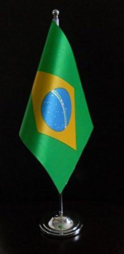 Brazil Satin Desk Table Flag With Chrome Pole and Base