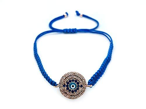 Handmade Adjustable Evil Eye Bracelet I Red and Blue Braided String I Bring Good Luck (Light Blue) ()