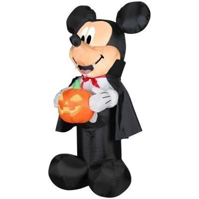 HALLOWEEN DECORATION LAWN YARD INFLATABLE AIRBLOWN DISNEY VAMPIRE MICKEY MOUSE AND PUMPKIN 3.5' TALL