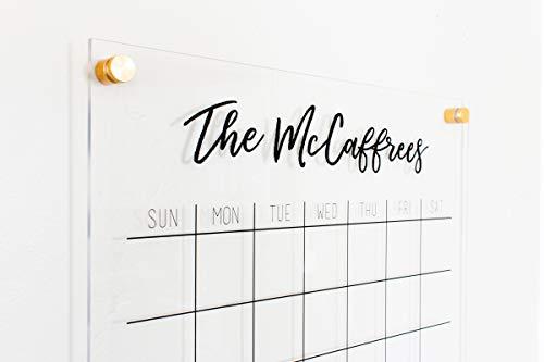 Acrylic Calendar - Personalized 18x23 Dry Erase Standoff Acrylic Wall Calendar - dry erase family calendar, 2018 Calendar, custom gift, planner, family command - Wall Calendar Custom