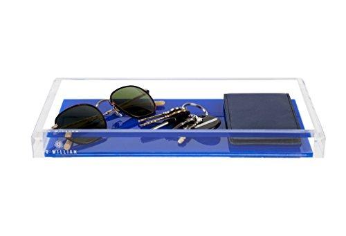 JR William Handmade Modern Tray Asbury Blue and Clear Small Acrylic Valet Tray, Catchall Tray, Dresser Tray, Desk Organizer Tray and Home Decor Tray Blue Bathroom Wall Valet