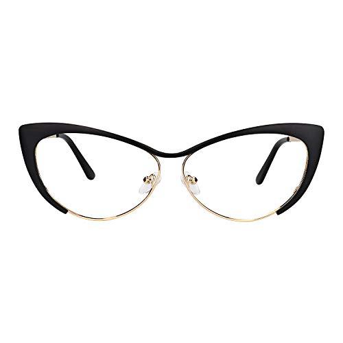 Zeelool Unisex Oversized Stylish Metal Browline Cat Eye Glasses Ellen VFM0176-06 ()