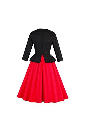 Damen Mit Langen Ärmeln Rockabilly Swing Partei Kleid Red vbAfP ...