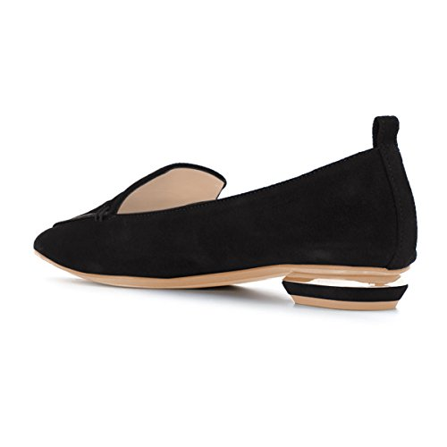 FSJ Women Fashion Pointed Toe Pumps Low Heels Casual Loafers Slip On Summer Shoes Size 4-15 US Black-suede zSdPc6Y8kn