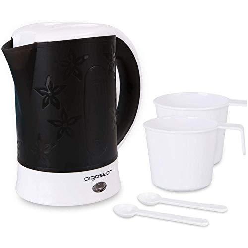 Aigostar Cooltravel 30JQL – Hervidor de agua compacto 0,6 litros, 650 W, diseno integrado, proteccion contra la ebullicion en seco Libre de BPA Incluye dos tazas y dos cucharas Diseno exclusivo