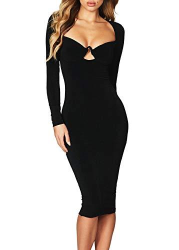 HUUSA Sexy V Neck Clubwear Formal Prom Party Evening Gown Dress Fall Long Sleeve Bodycon Slim Work Midi Dress L Black (Prom Gown Slim)