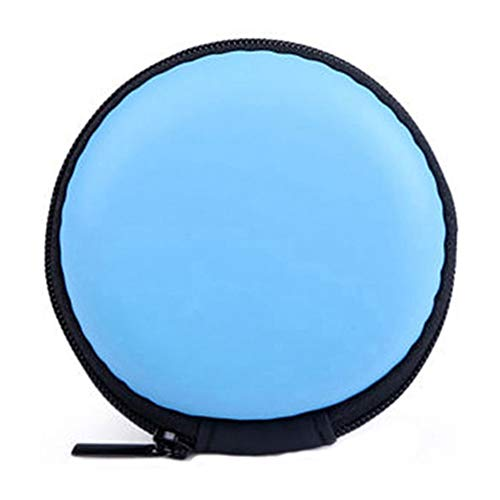 qsbai Women Men Casual Earphone Storage Bag Round Headphone Pouch Mini Zipper Coin Purse Case Blue