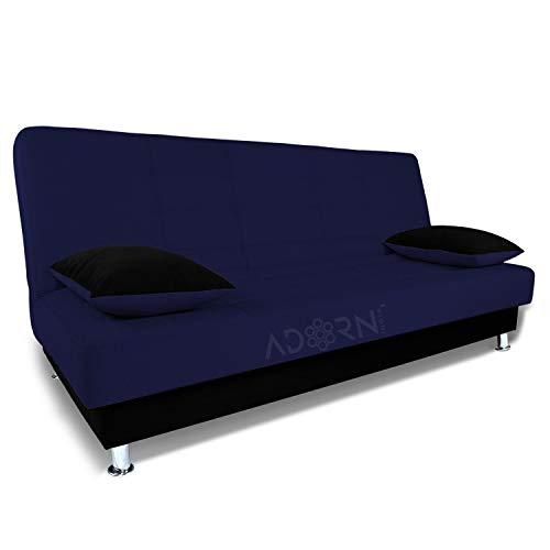 Adorn India Alyssum 3 Seater Sofa Cumbed (Navy Blue & Black)