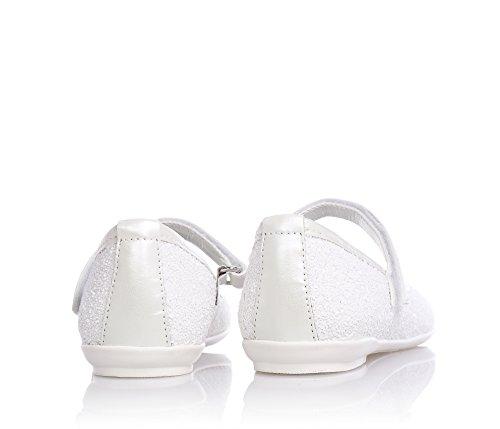 CARLO PIGNATELLI - Ballerine blanche en cuir avec glitter, qui exalte l'élégance, la vivacité et la douceur des plus petits, avec fermeture en velcro et semelle, Fille, Filles, Femme, Femmes