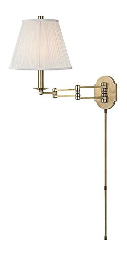 Aged Brass Ravena 1 Light Swing Arm Plug-in Wall Sconce with Pleated Faux Silk Shade and Full-Range Dimmer ()