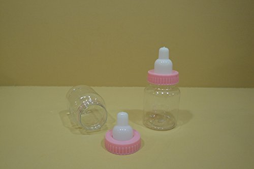 24 Plastic Fillable Bottle Baby Shower Favor (3 1/2 Tall) (Choose Any Colors) (Plain Pink) by Unknown