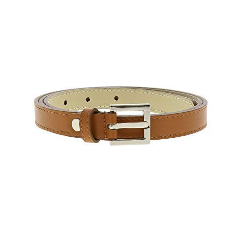 FASHIONGEN - Belt Genuine Italian leather, leather Nubuk lined for women, width 0.75in, LINDA - Camel, 80 cm (31.50 in) / Trousers 4 to - Leather 0.75 Belt