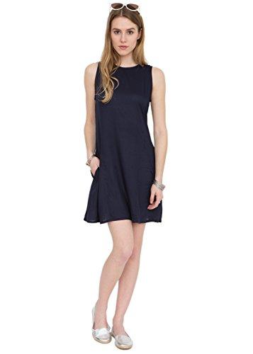 Vestido camisero azul marino con espalda ajustable