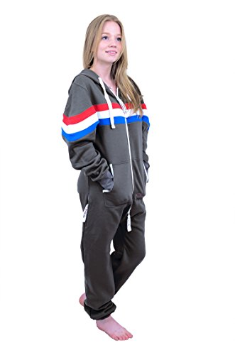 The Classic Unisex Onesie in Charcoal with Red White Royal Stripes. Perfect adult onepiece jumpsuit FREE bag from Charlie McLeod
