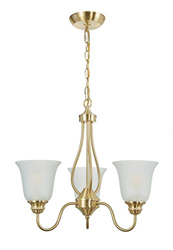 Doraimi 3 Light Chandelier Lighting with Brushed Bronze Finish, Classic Style Ceiling Light Fixture with Frosted Glass Shade for Meeting Room Dining Room Living Room Corridor, LED Bulb(not Include)
