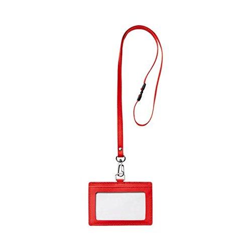 日用品 カードケース 関連商品 本革製ネームカードホルダー ヨコ型 ストラップ付 レッド RLNH-E-R 1個 【×5セット】 B076TS5GYP