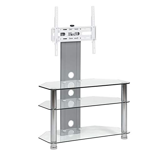Clear Floor TV Stand with Mount for Flat Screens - Fits 30 32 42 50 Inch - Sturdy Furniture Aluminium Silver Finish - Three Glass Shelves - Universal Tall Corner - Tv Finish Silver Flat Screen