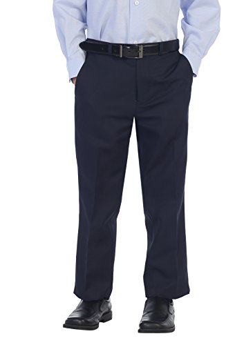 Blue Navy Pants Slacks Dress (Gioberti Boys Flat Front Dress Pants, Navy, 12)