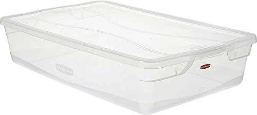 Rubbermaid Clever Store Tote Storage Container FG3Q2800CLR, 41-Quart, Clear