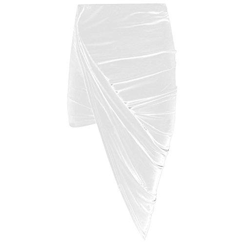 Janisramone women cut out ruched jersey side split drape long midi mini skirt maxi Weiß