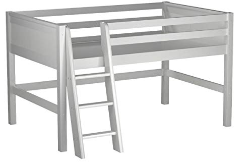 Camaflexi Panel Style Solid Wood Low Loft Bed, Twin, Side Angled Ladder, White