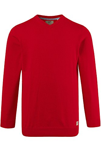 JP 1880 Homme Grandes tailles Pull homme - Uni - Col V - Manches longues rouge chiné XXL 702443 51-XXL