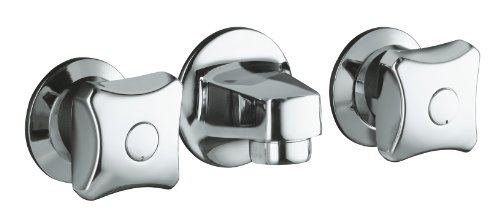 (KOHLER K-8046-2A-CP Triton Shelf-Back Commercial Bathroom Sink Faucet with Grid Drain and Standard Handles, Polished Chrome)