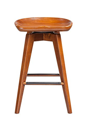 Boraam 55124 Bali Counter Height Swivel Stool, 24-Inch, Walnut