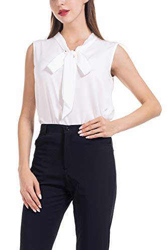 AUQCO Womens Business Casual Sleeveless Chiffon Blouse Shirt Tops
