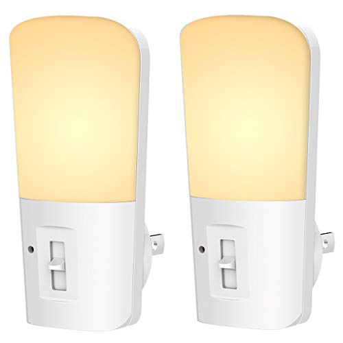 LOHAS Plug in Night Light, Dimmable Dusk to Dawn Plug in LED Night Lights, Soft White 3000K Sleep Nightlights, Adjustable Brightness 5-80LM Mini Light for Kids Room Nursery Hallway Kitchen, 2 Pack