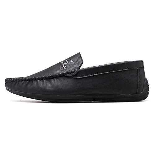 Cómodos Suave Y Llevar Negro Suela Con Mocasines Barcos Ropa Sry Para Cuero De Moda zapatos Hombre Casual q01f6xPtw