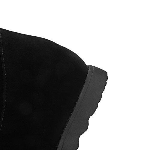 AllhqFashion Mujeres Tachonado Cuña Puntera Redonda Sin cordones Botas con Hebilla Negro