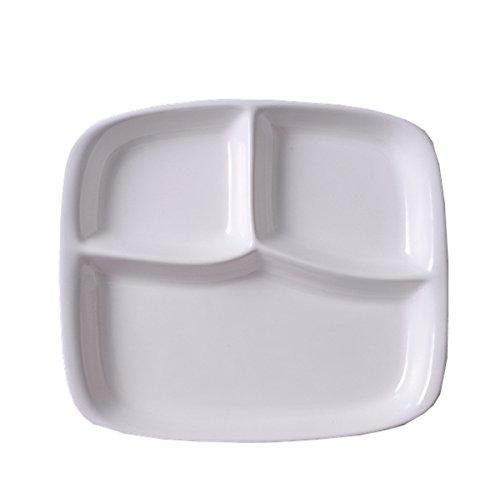 guodongdong Vajilla De Plato De Porcelana Cubiertos Para Ninos Vajilla Para Ninos Creative Home Separated Breakfast Plate Adult,White