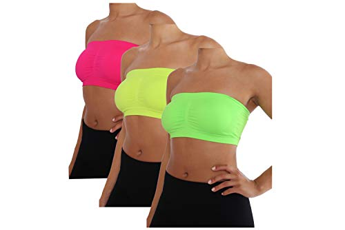 Women's Basic Layering Bandeau Bra Top - Strapless, Seamless, Wire-Free Comfort REG and Plus Sizes (ONE Size 2-6, NEON Pink-NEON Yellow-NEON Green)