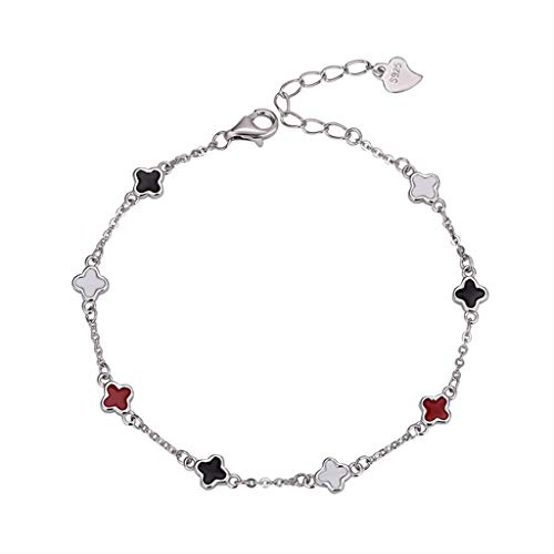 LXIANGP Women's Bracelet S925 Sterling Silver Jewelry Four-Leaf Clover Color Paint Korean Fashion Female Girlfriends Wild Valentine's Day Birthday Gift Chain Length 19cm
