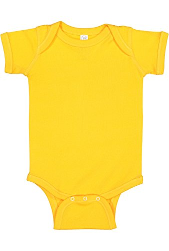 Rabbit Skins Infant 100% Cotton Baby Rib Lap Shoulder Short Sleeve Bodysuit (Gold, 18 -