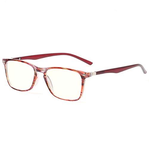 (Computer Reading Glasses Blue Light Blocking Readers Men and Women Glasses of Reading (Red Stripe, 3.5))