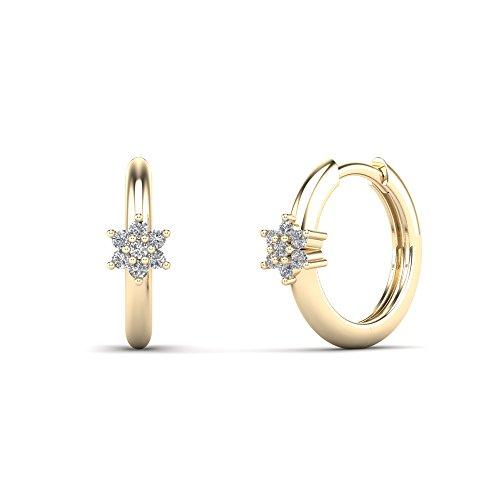 (JewelAngel Women's 14K Yellow Gold 1/8 Carat TDW Diamond Flower Hoop Earrings (H-I, I1-I2) )