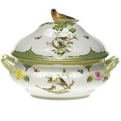 Herend Rothschild Bird Green Border Tureen With Bird - Bird Tureen