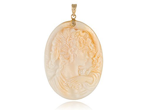 Large Mother Of Pearl Lady Victoria Cameo Pendant, 14k Gold