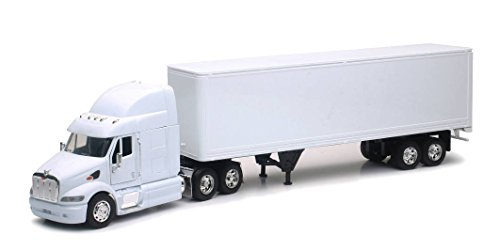 Personalized This Diecast White Blank Truck 1:32 Scale Peterbilt 387 Truck W/ Dry Van Trailer - White …